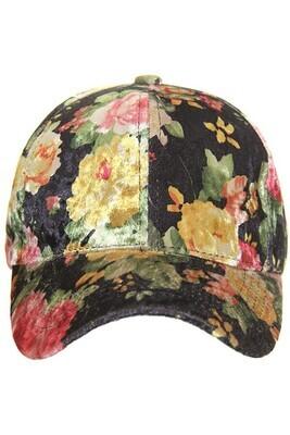 Black Floral Velvet Cap