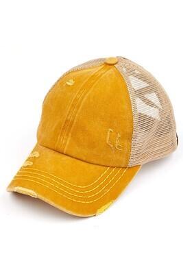 Mustard Mesh Crossed Band Pony Cap