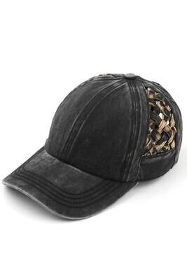 Black & Leopard Weave Pony Cap