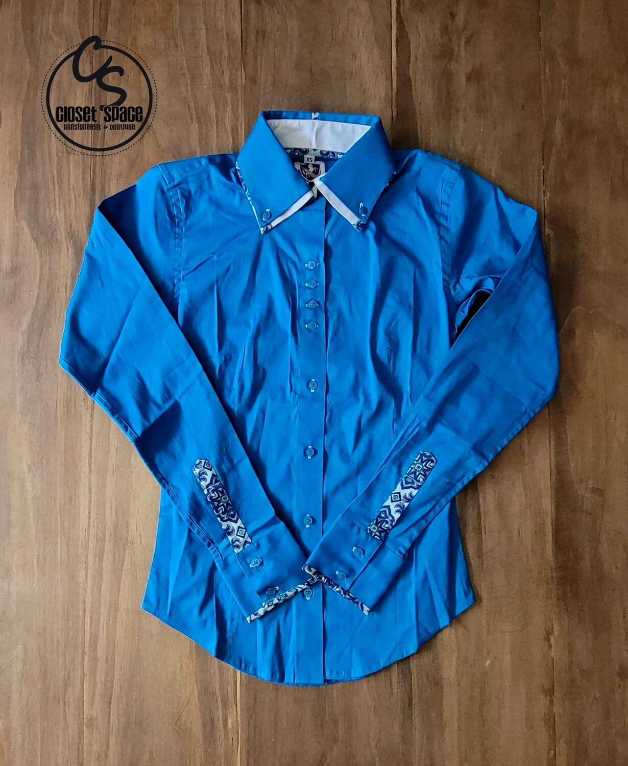 2 Tone Button Up - Turquoise