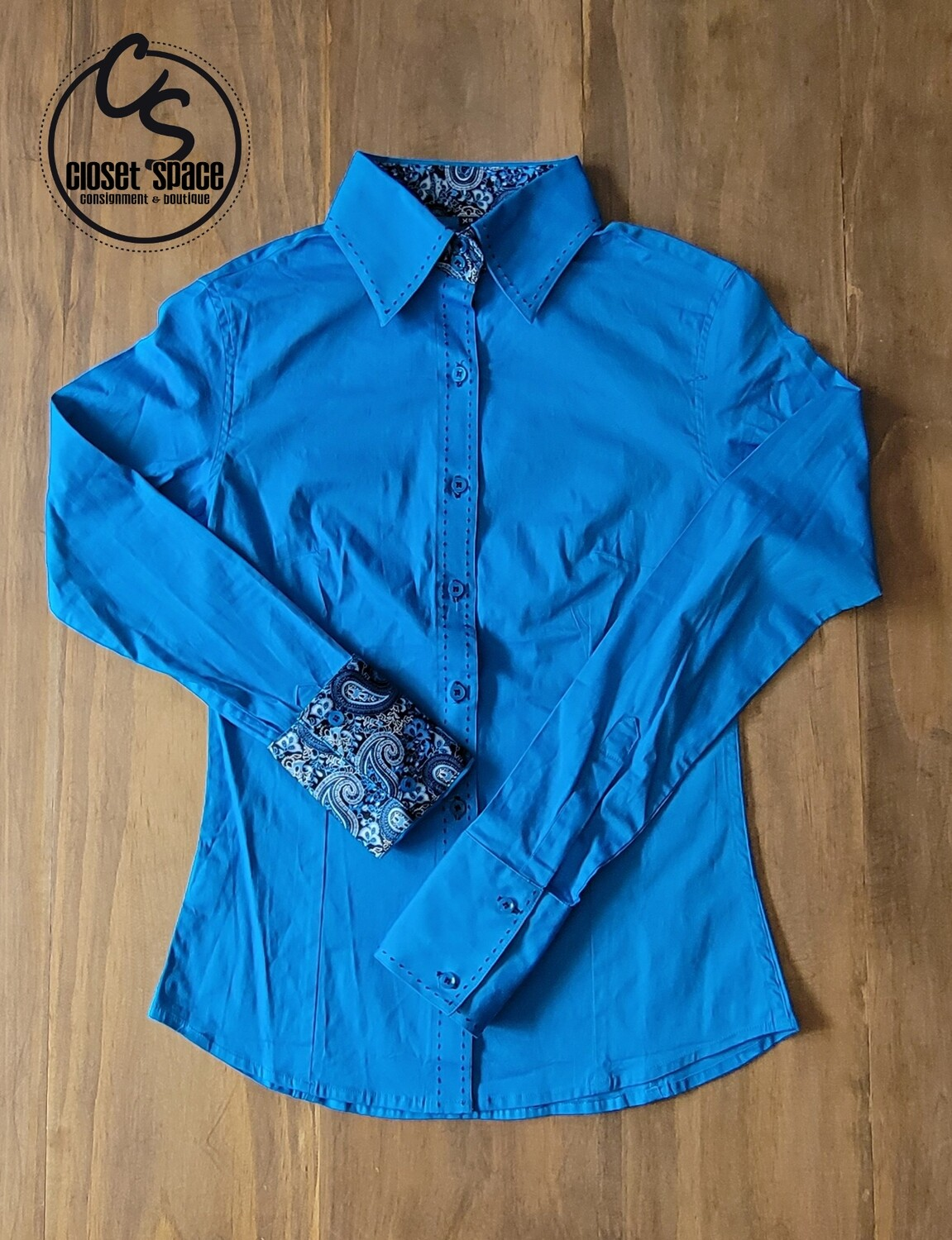 Buckstitch Button Up - Teal/Turquoise