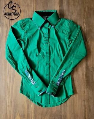 2 Tone Button Up - Emerald Green