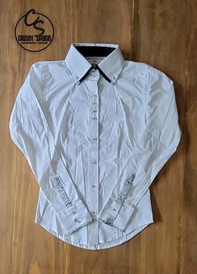 2 Tone Button Up - White