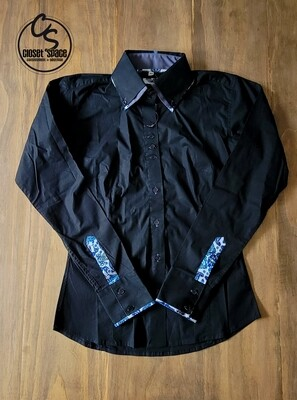 2 Tone Button Up - Black