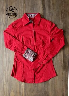 Buckstitch Button Up - Red