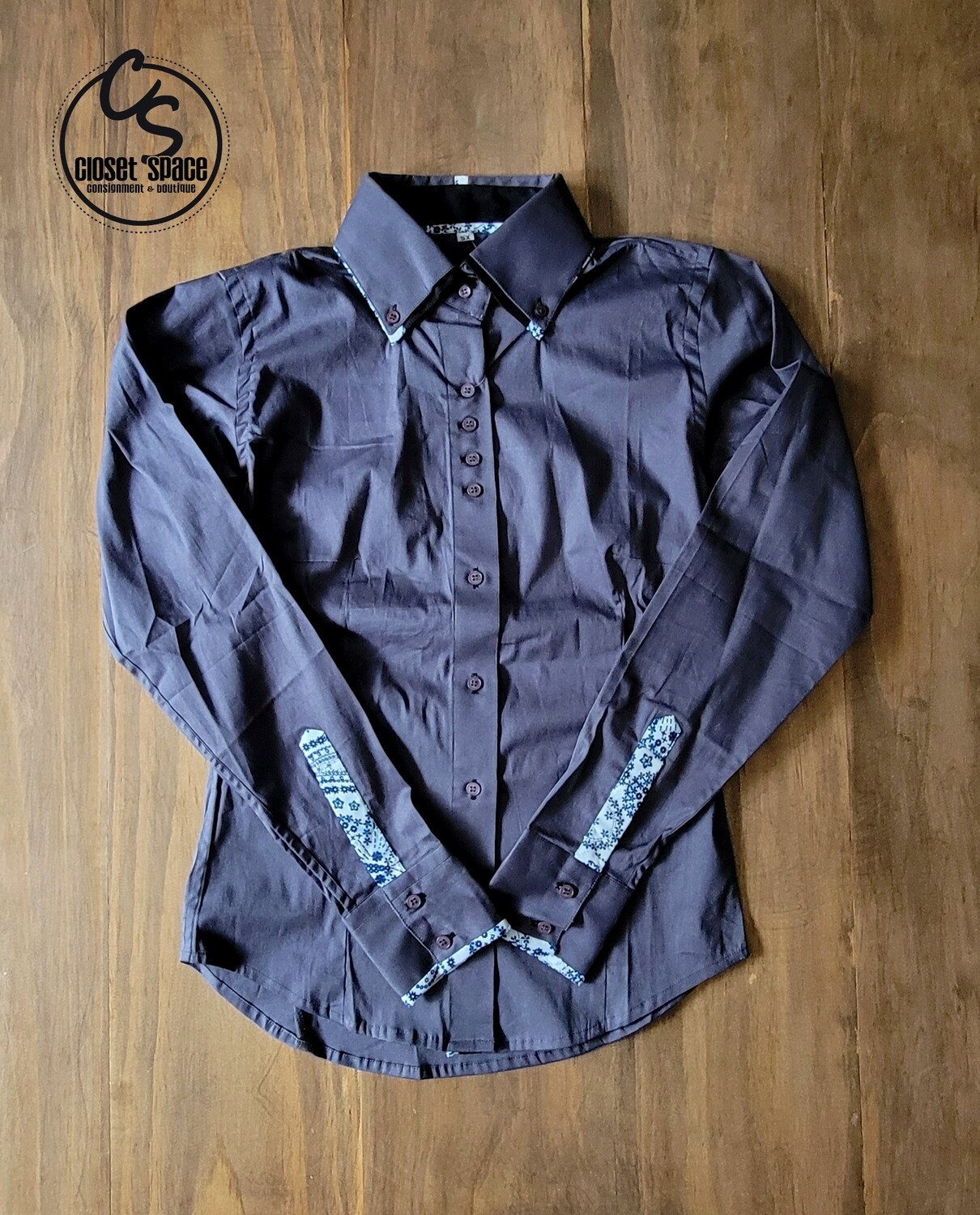 2 Tone Button Up - Gray