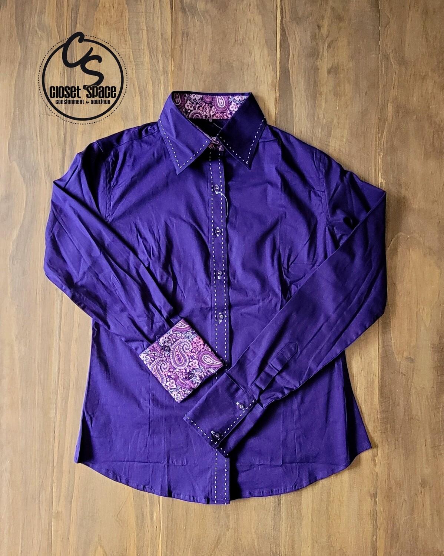 Buckstitch Button Up - Violet