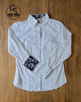 Buckstitch Button Up - White