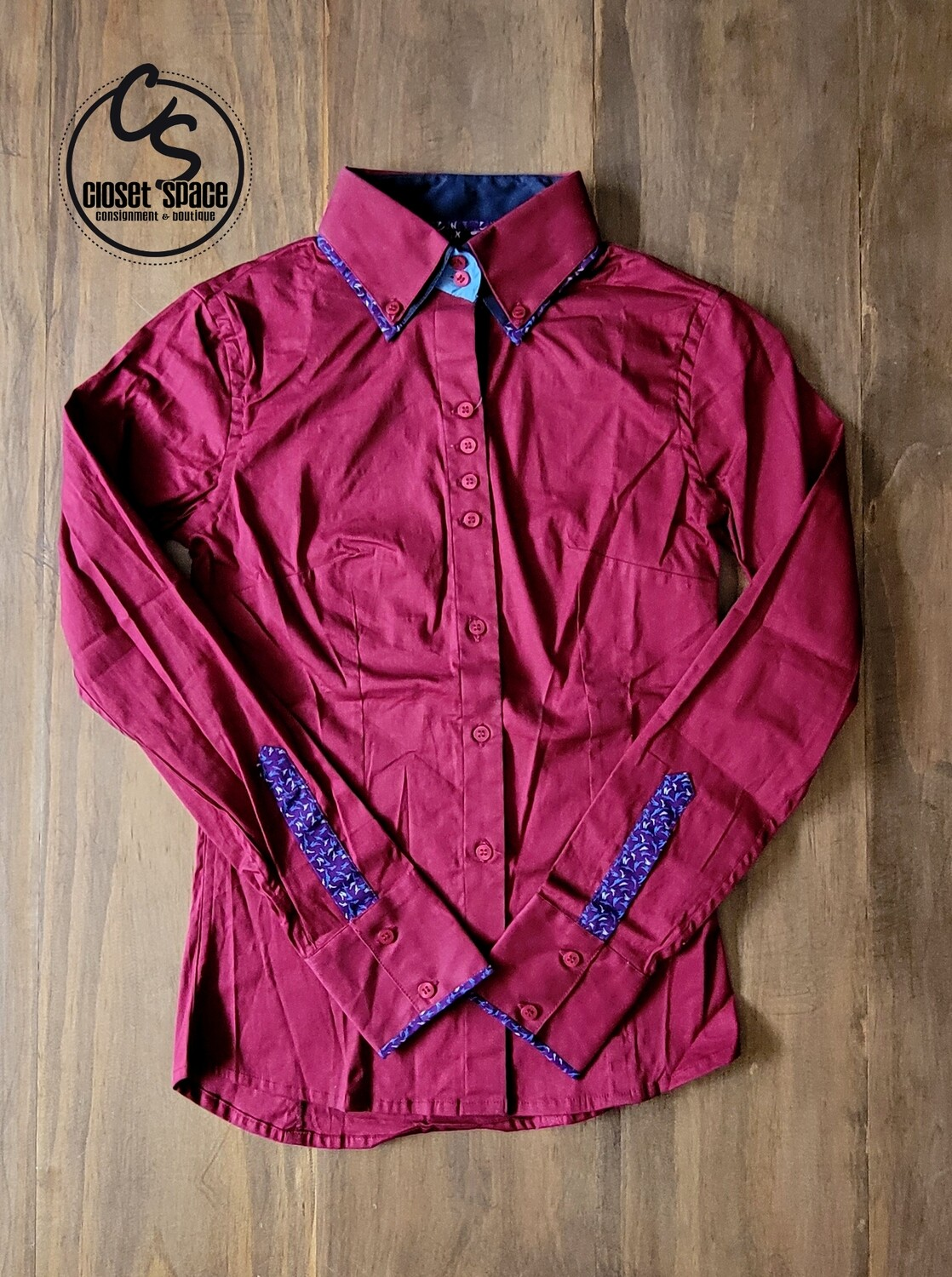 2 Tone Button Up - Burgundy