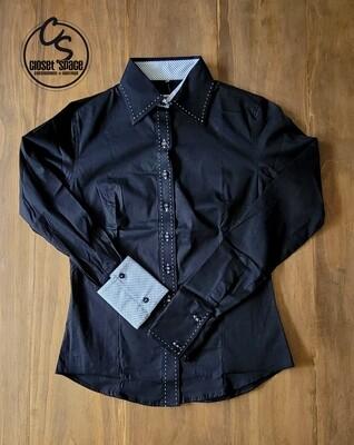 Buckstitch Button Up - Black