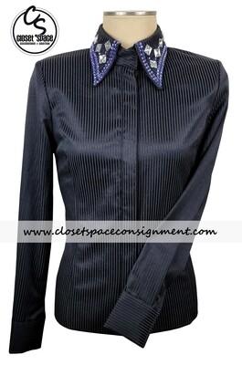 'Signature Styles' Black Pinstripe & Purple Shirt - NEW