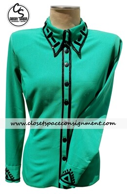 'Signature Style's Emerald & Black Shirt - NEW