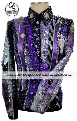 'Fine Designs by Ronda' Black, Purple & Gray Jacket