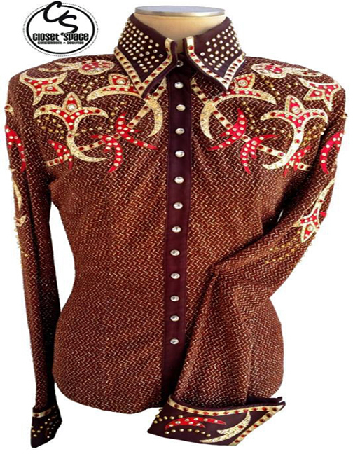 'Showtime' Brown, Red & Gold Pleasure Shirt