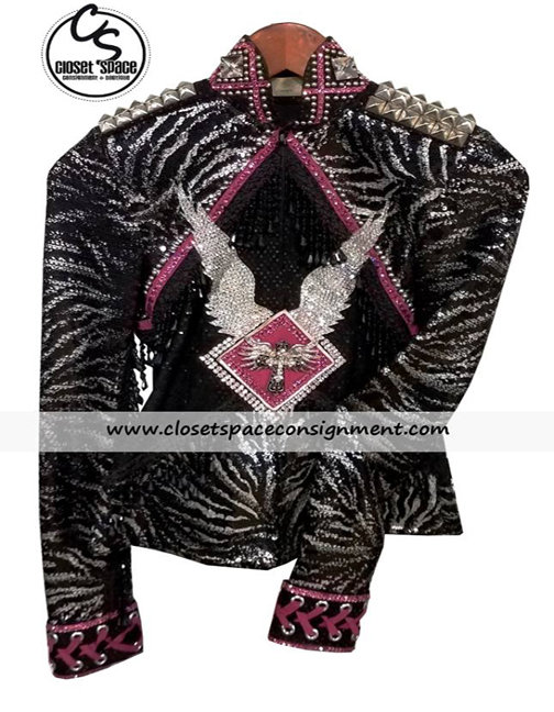 'Behind The Zipper' Black, Pink & Silver Jacket