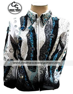 'Expressions' Black, White & Turquoise Jacket