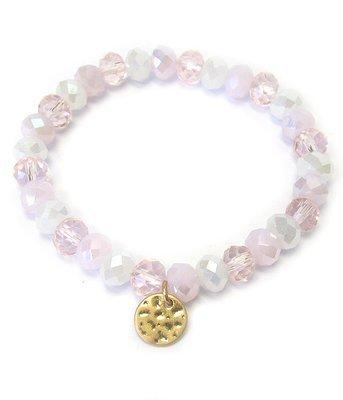 Gold Charm Mixed Beads Stretch Bracelet