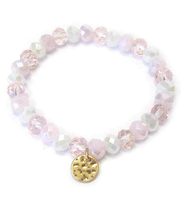 Gold Charm Mixed Beads Stretch Bracelet