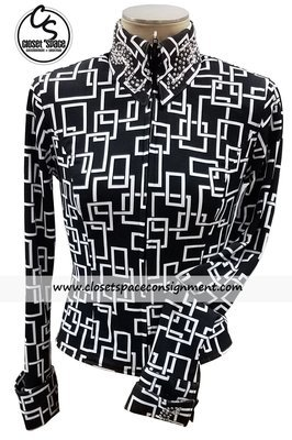 ​'Show Diva' Black & White Squares Shirt