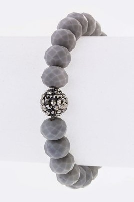 Gray Glass Bead Stretch Bracelet
