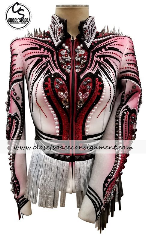​'Colleen Malburg' Black, Red, White & Silver Fringe & Spikes Jacket