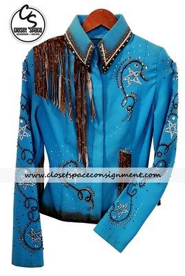 'Fine Designs by Ronda' Turquoise & Rust Fringe Jacket