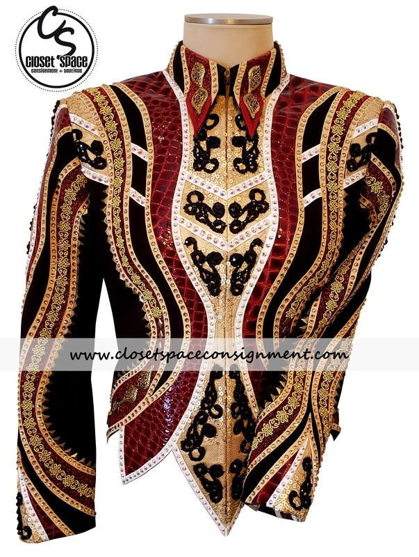 ​'LLouise' Black, Burgundy & Gold Jacket