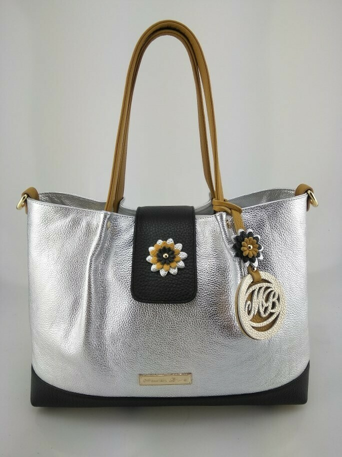 Shopper Bag Mod.  Mirtilla Silver/Black/Mustardcolor