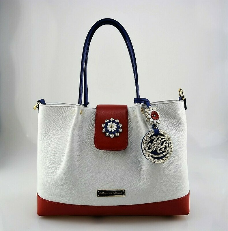 Shopper Bag Mod.  Mirtilla  Leather  white, red,  blue