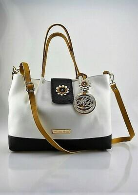 Shopper Bag Mod.  Mirtilla White/Black/Mustardcolor