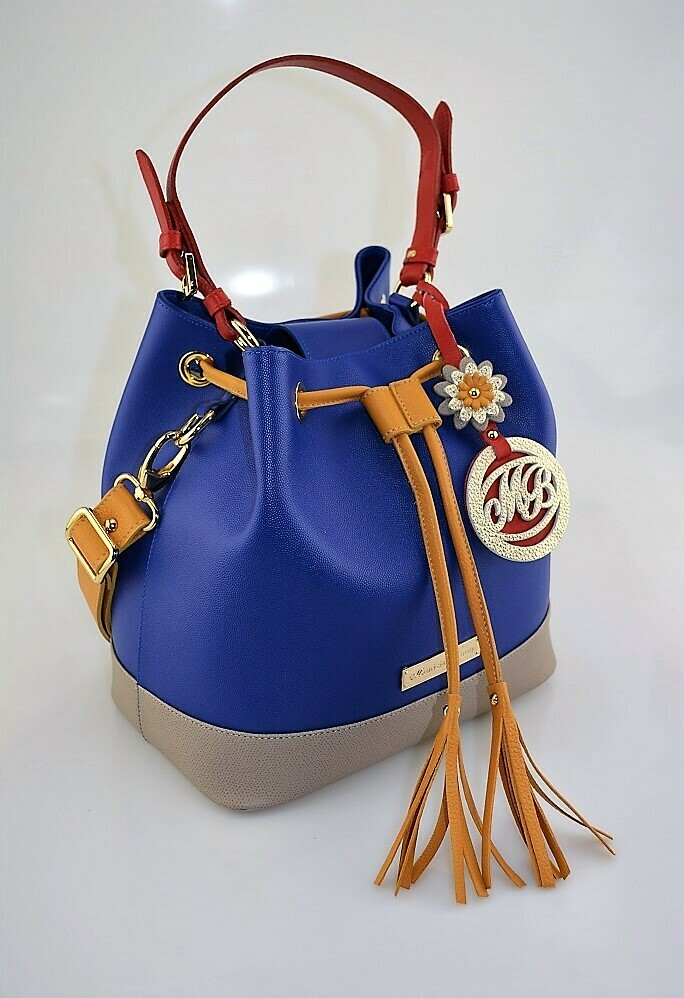 Bucket Bag Mod. Bambù, Medium Size, Deep Blue