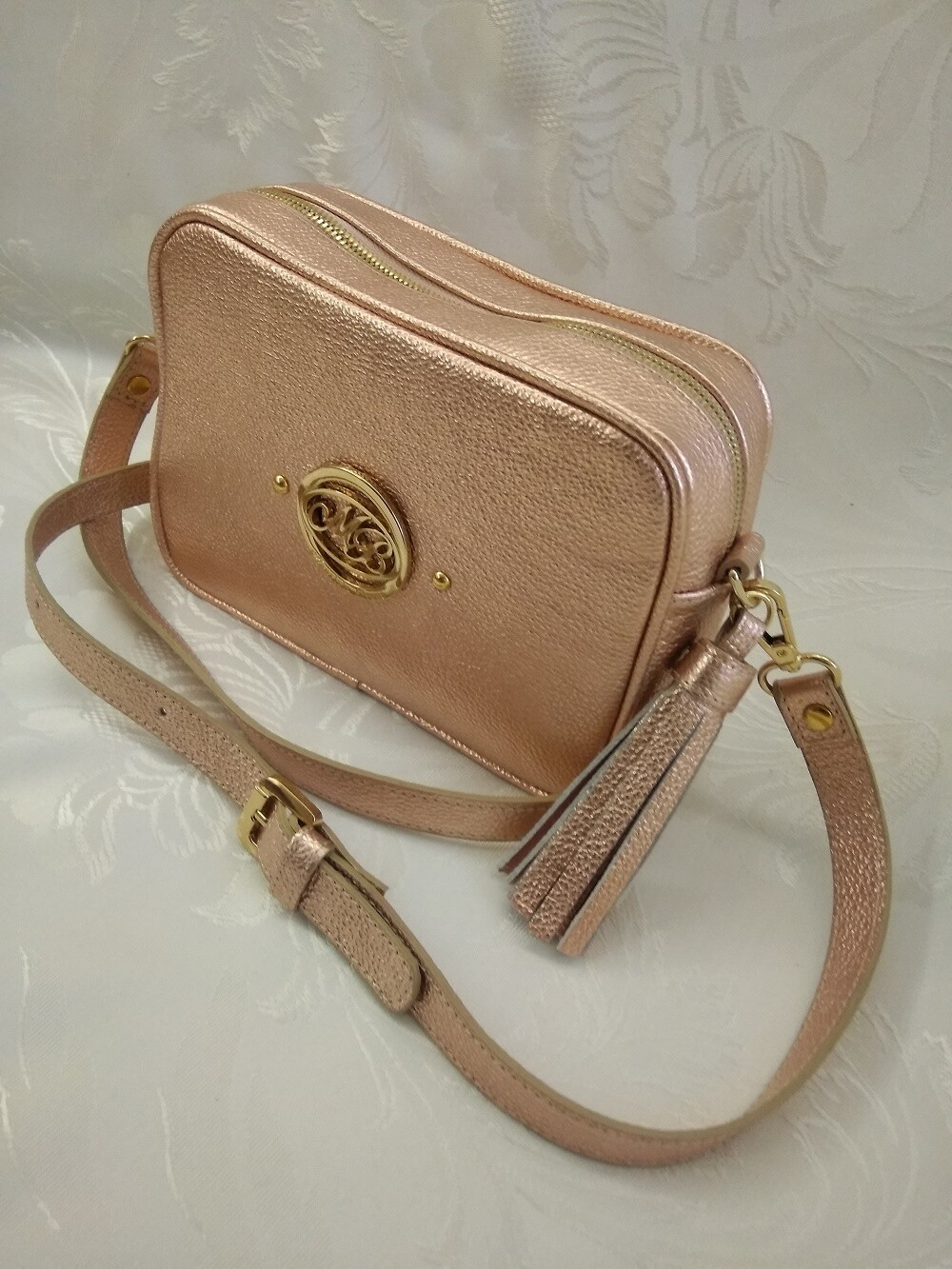 Bag Mod. Anna/3 –Crossbody Bag  Metallic Pink Leather
