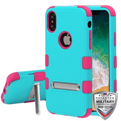 iPhone XS/iPhone X Natural Teal Green/Electric Pink TUFF Hybrid Protector Cover