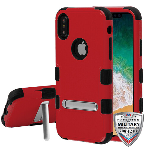 iPhone XS/iPhone X Natural Red/Black TUFF Hybrid Protector Cover With Kickstand