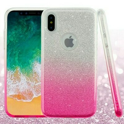 iPhone XS/iPhone X  Pink Gradient Glitter Hybrid Protector Cover