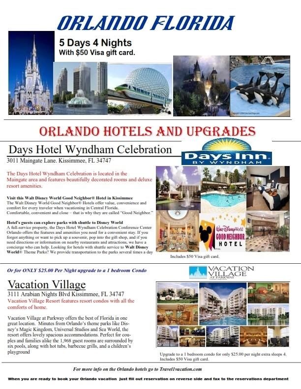 5 Days 4 Nights Orlando Florida Minutes from Disney & Universal also Includes bonus $50 Visa Gift Card