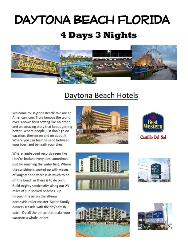 4 Days 3 Nights Daytona Beach Florida Oceanside resort SPECIAL ONLY $149.00! Includes 5/4 Vegas bonus!!