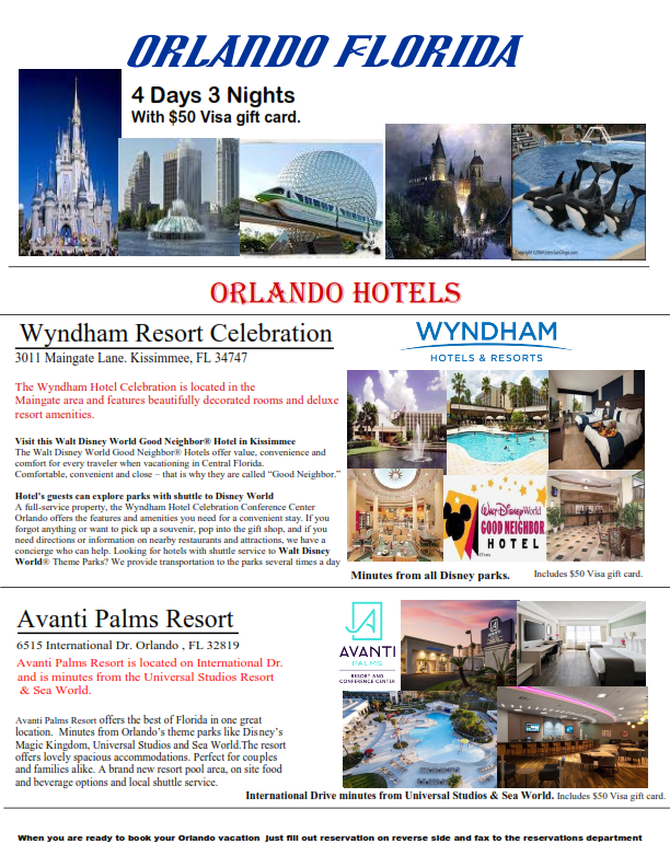 4 Days 3 Nights Orlando Florida minutes from all the theme parks! Save big Special ONLY! $149.00. Includes 5/4 Bonus Vegas.