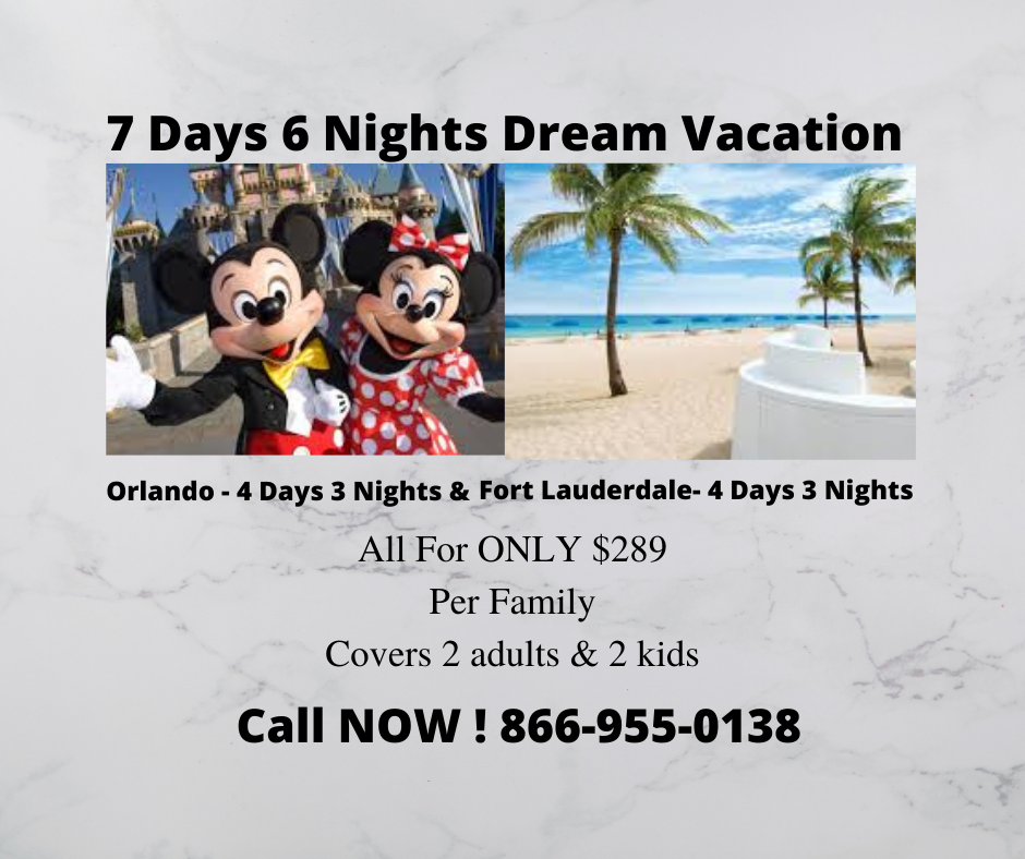 7 Days 6 Nights Orlando & Fort Lauderdale Vacation Package with 5/4 Las Vegas bonus vacation BEST VALUE!!! LIMITED TIME!!!!