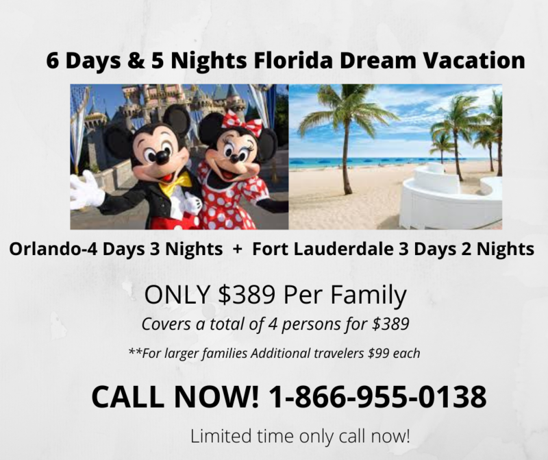 6 Days 5 Nights Orlando & Fort Lauderdale Vacation Package with 5/4 Las Vegas bonus vacation BEST VALUE!!! LIMITED TIME!!!!