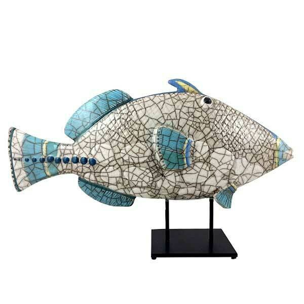Ceramic Triggerfish P Glazed on stand