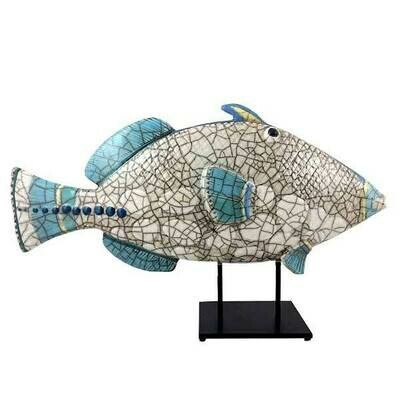 Ceramic Triggerfish P Glazed on stand