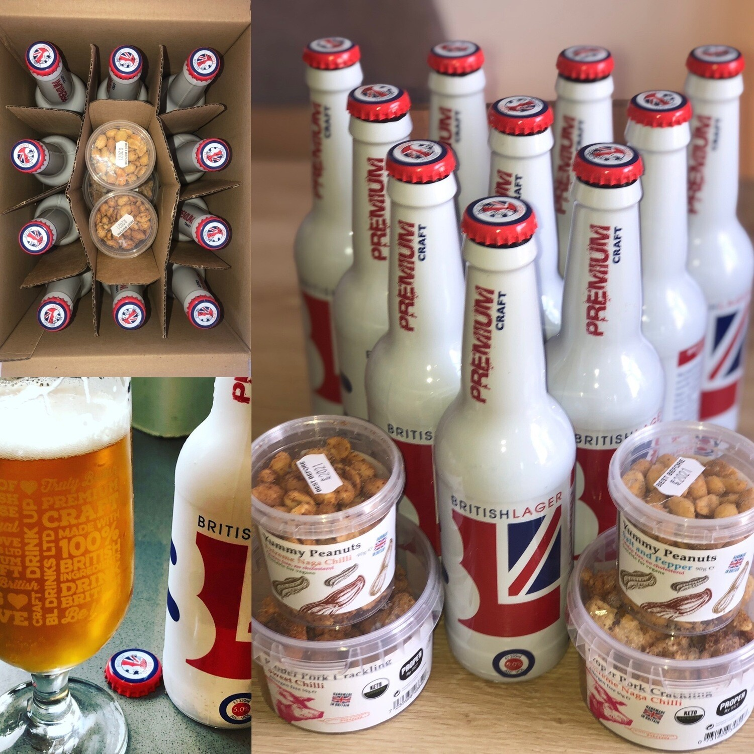 British Lager & Proper by SCT special (Winchester, Ascot and surrounding areas only) 10 x British Lager, PLUS 2 x tubs of Pork Scratchings and 2 x tubs Yummy peanuts. Includes FREE DELIVERY.