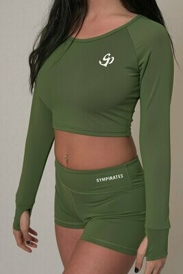 Long Sleeve Crop Top - Kale Green