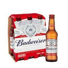 Cerveza Budweiser x six pack de 343ml.