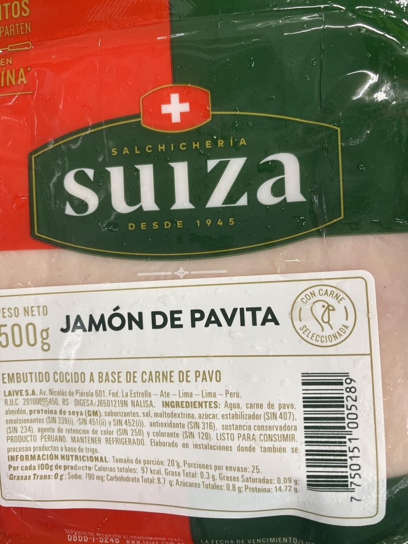 Jamón de pavita suiza x 500 g
