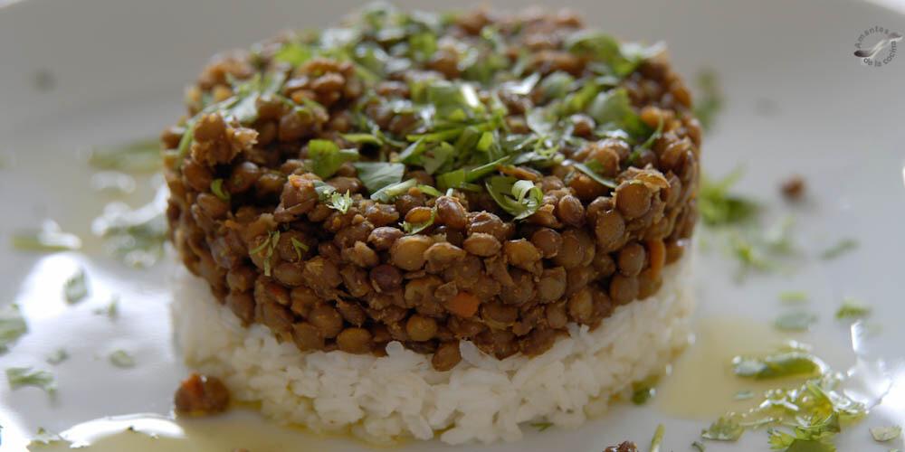 Guiso de lentejas con arroz. para 4 personas
