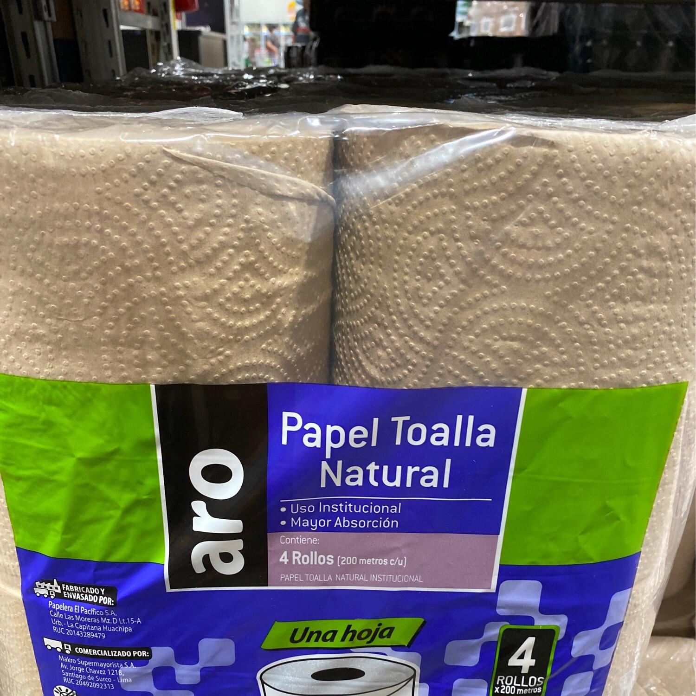 Papel toalla natural pack x 4 rollos ( 200 metros c/u)