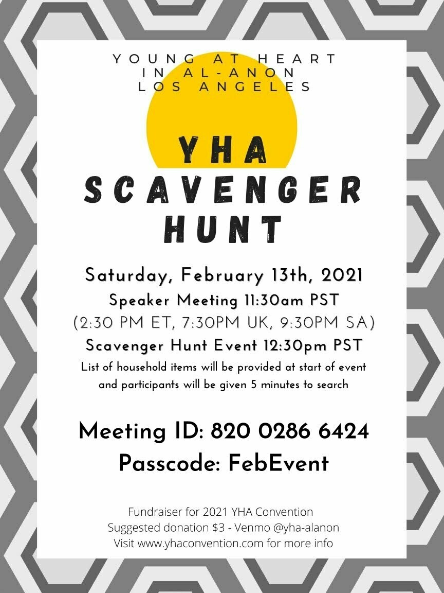 THE YHA SCAVENGER HUNT FUNDRAISER February 13, 2021