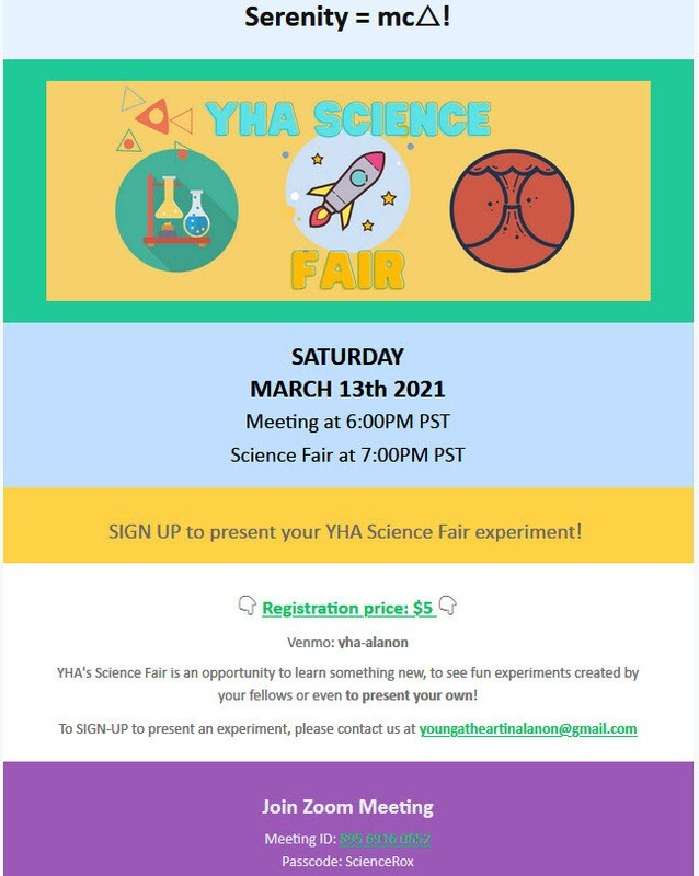 THE YHA LA SCIENCE FAIR FUNDRAISER Saturday March 13, 2021
